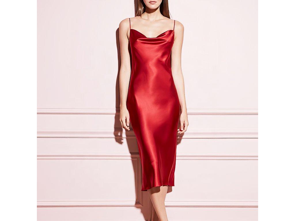Sexy šaty střední lesklé červené ELLA 18 zpředu 1