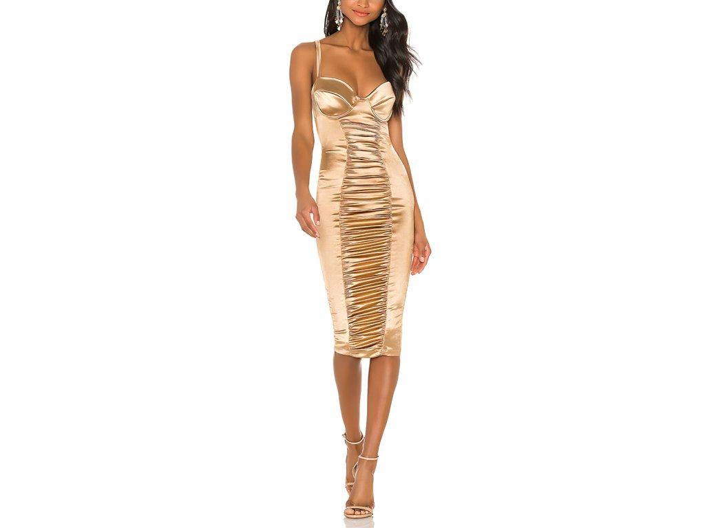 Sexy šaty střední lesklé zlaté MONA 15 zpředu 1