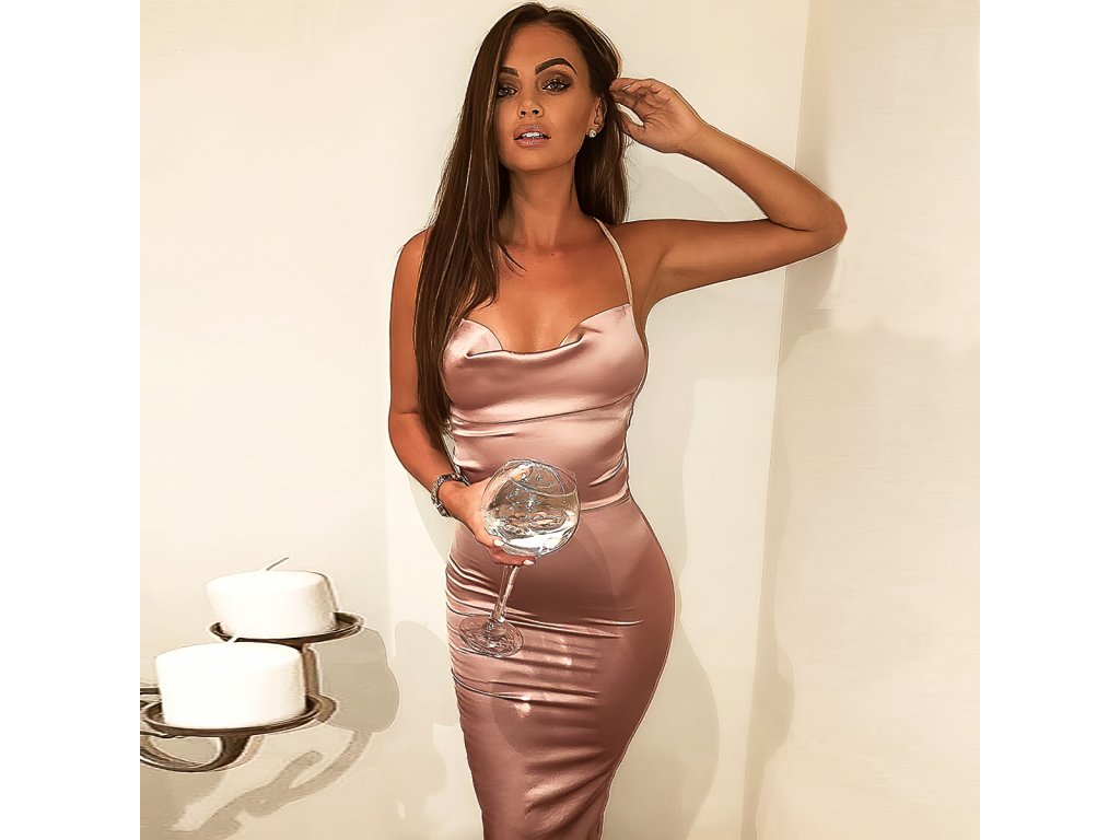 Sexy šaty střední lesklé bronzové JANA 12 zpředu 1