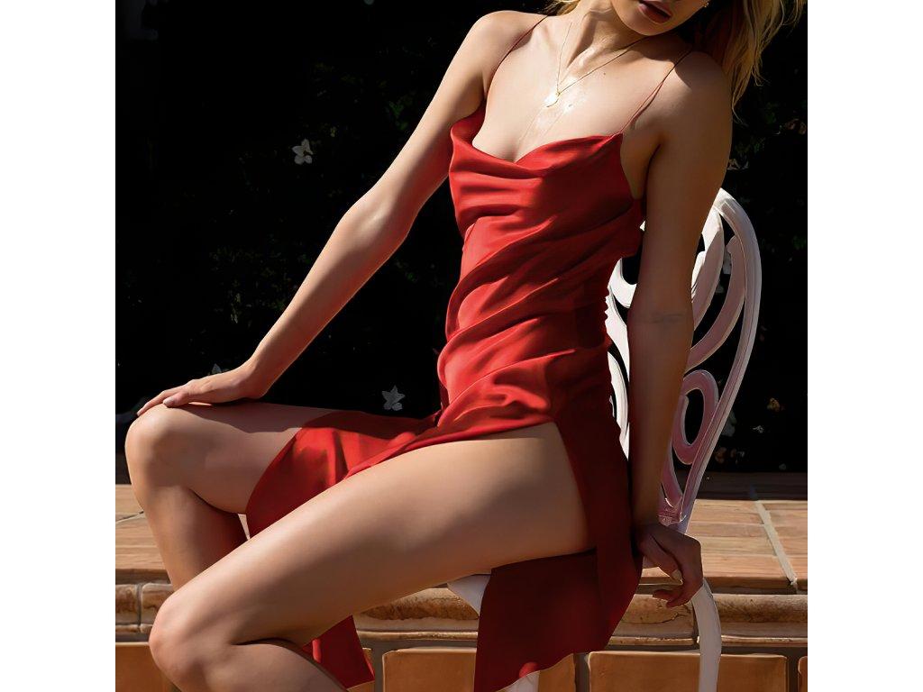 Sexy šaty dlouhé lesklé červené HANA 12 zpředu 1