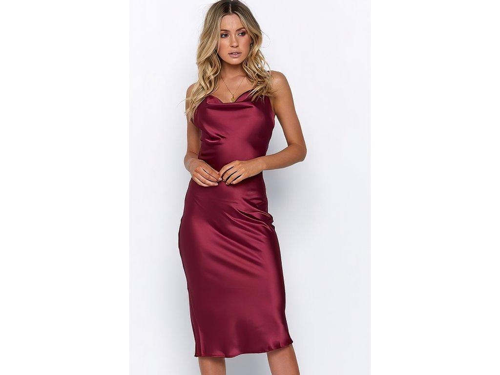 Sexy šaty dlouhé lesklé bordó HANA 23 zpředu 1