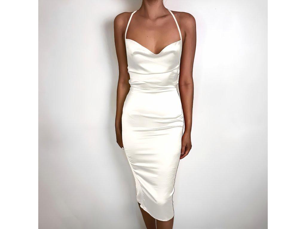 Sexy šaty dlouhé lesklé bílé HANA 24 zpředu 1