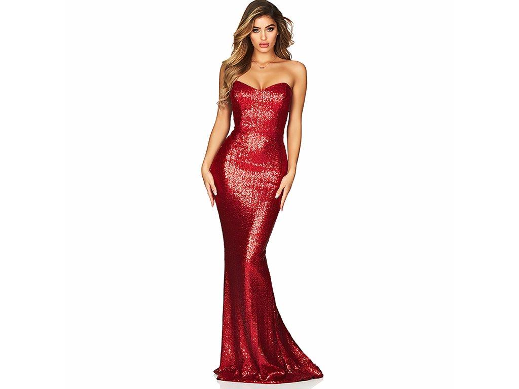 Sexy šaty dlouhé třpytivé červené ZINA 12 zpředu 1
