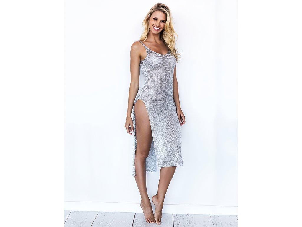 Sexy šaty dlouhé třpytivé stříbrné TINA 15 zpředu 1