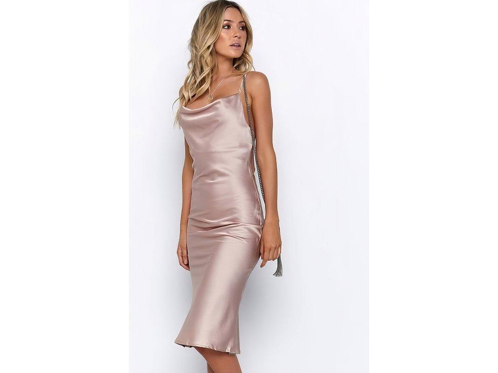 Sexy šaty dlouhé lesklé bronzové HANA 25 zpředu 2