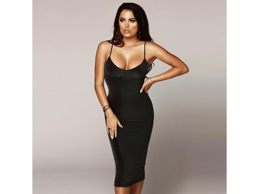Sexy šaty dlouhé lesklé černé SIMA 9 zpředu 1