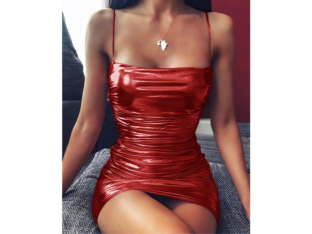 Sexy šaty mini lesklé červené ALEA 14 zpředu detail 1