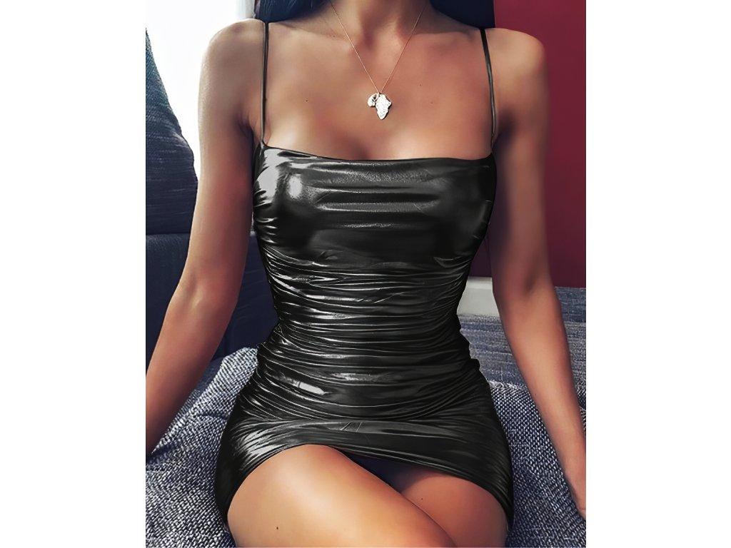 Sexy šaty mini lesklé černé ALEA 16 zpředu detail 1