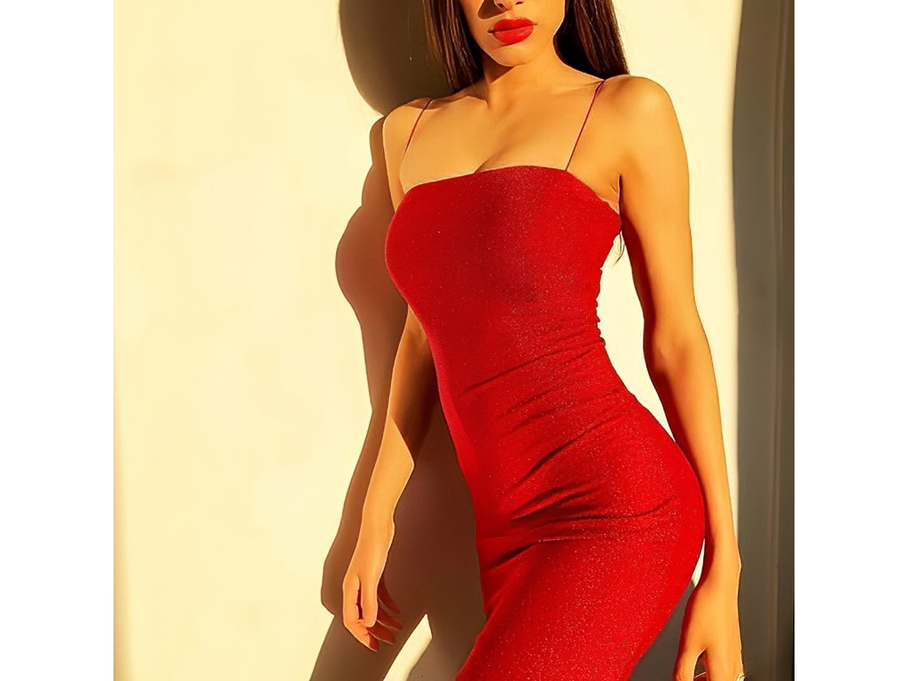 Sexy šaty mini lesklé červené SIMA 6 zpředu detail 1