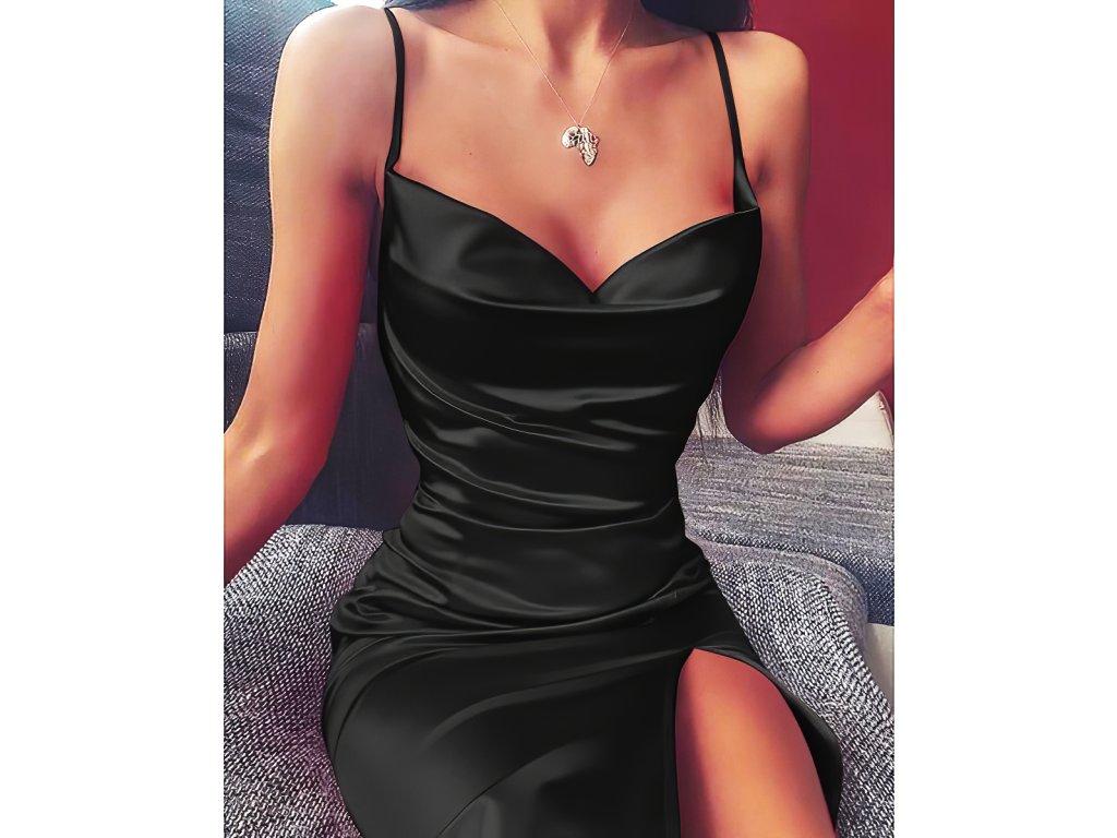 Sexy šaty střední lesklé černé TARA 39