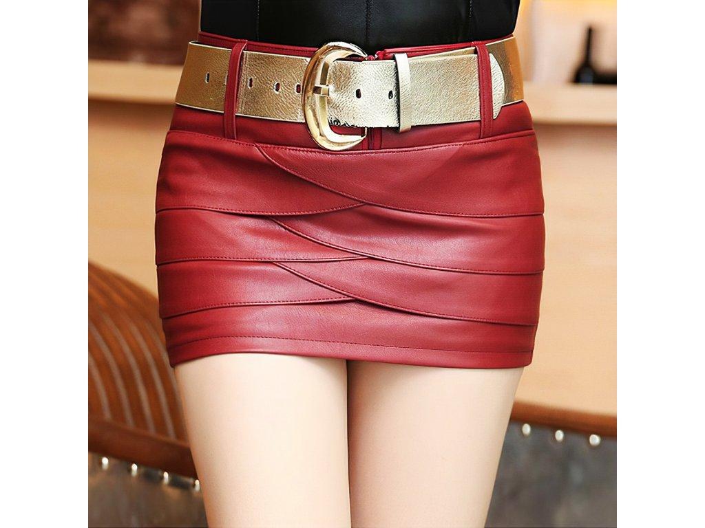 Sexy sukně mini červená KONA 7 zpředu detail 1