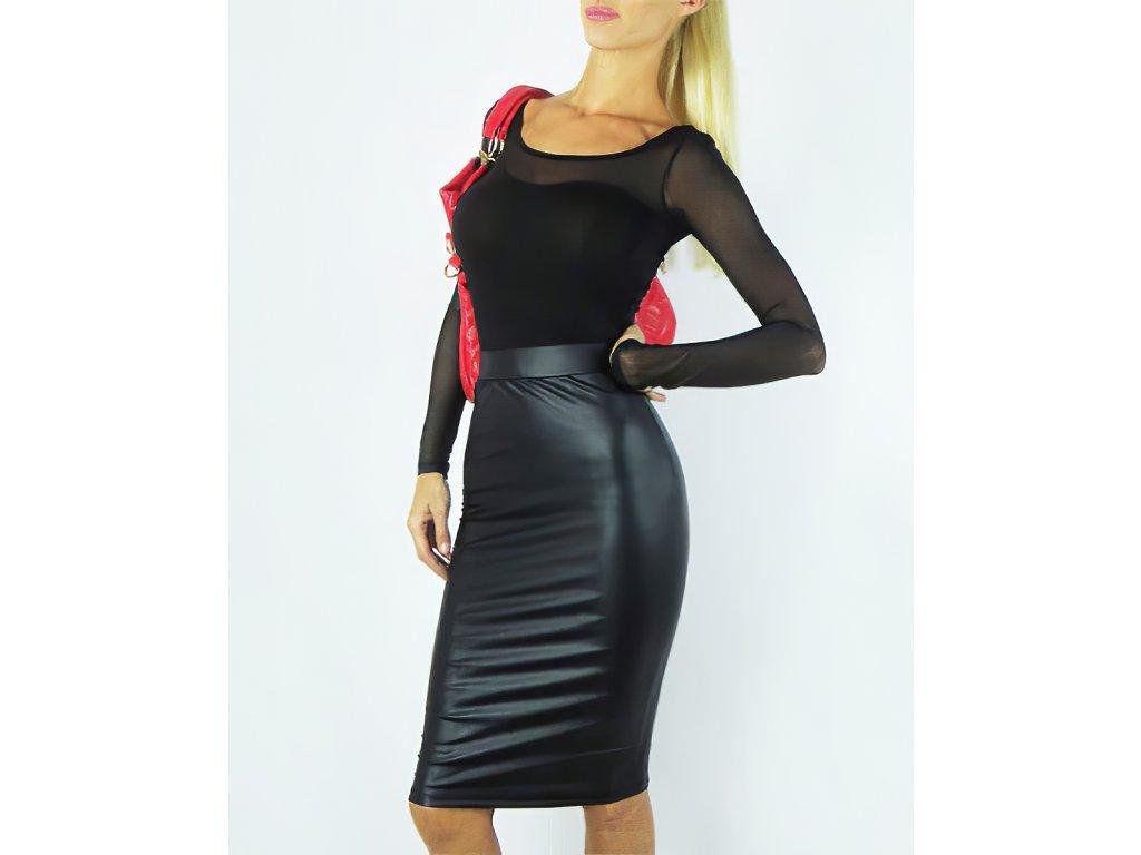 Sexy sukně střední černá LOVA 6 zpředu 1