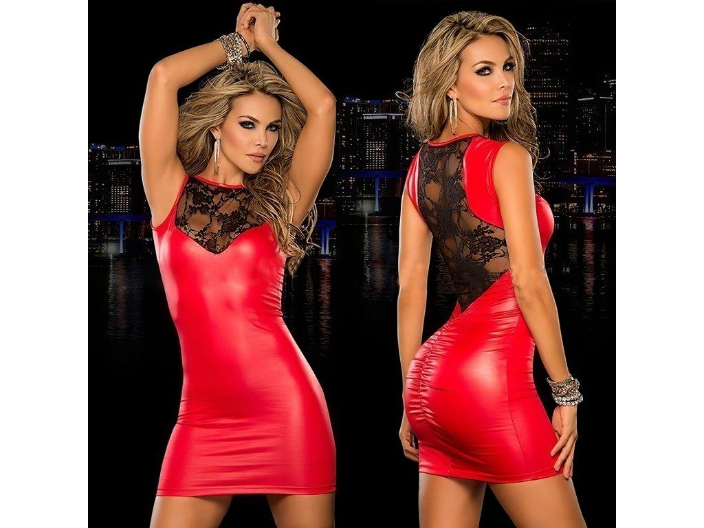 Šaty lesklé TOP 2 červené