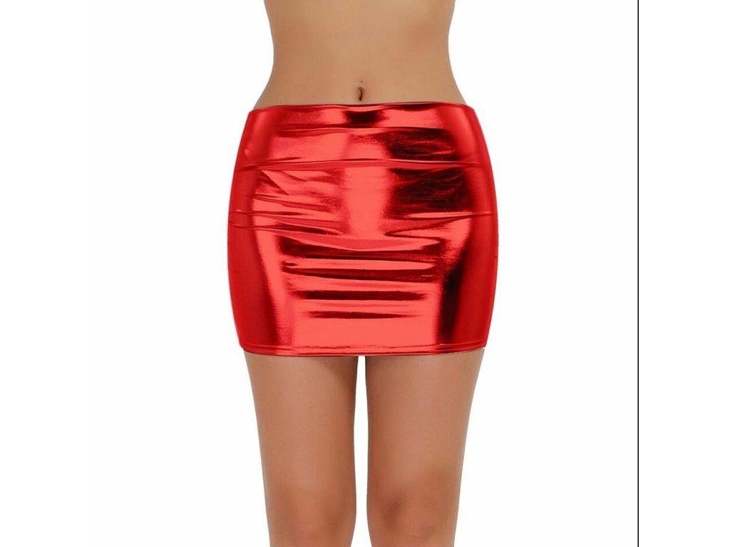 Sexy sukně mini lesklá červená DARA 16 zpředu 1