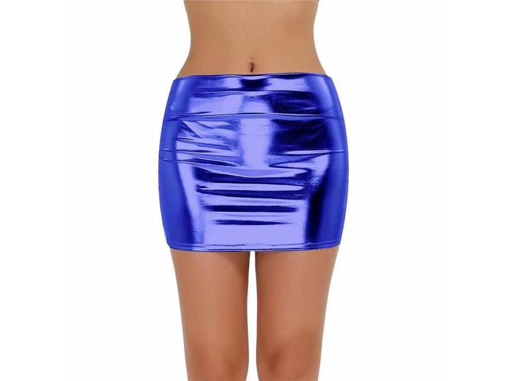 Sexy sukně mini lesklá světle modrá DARA 17 zpředu 1