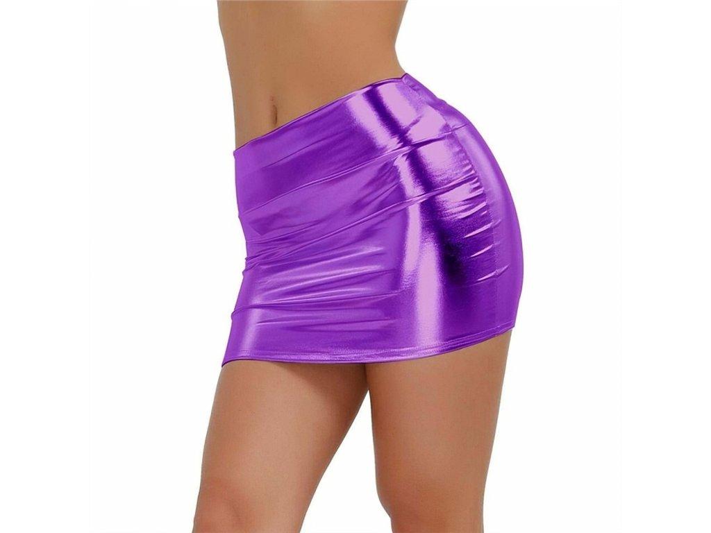 Sexy sukně mini lesklá fialová DARA 18 zboku 1