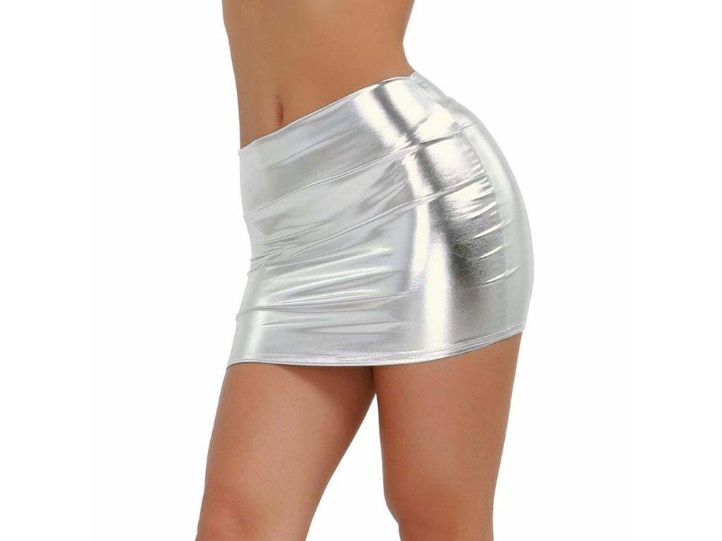 Sexy sukně mini lesklá stříbrná DARA 20 zboku 1
