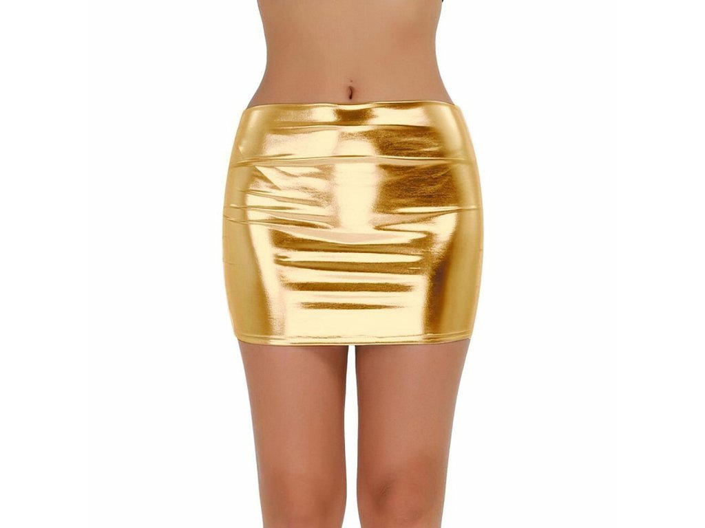 Sexy sukně mini lesklá zlatá DARA 21 zpředu 1