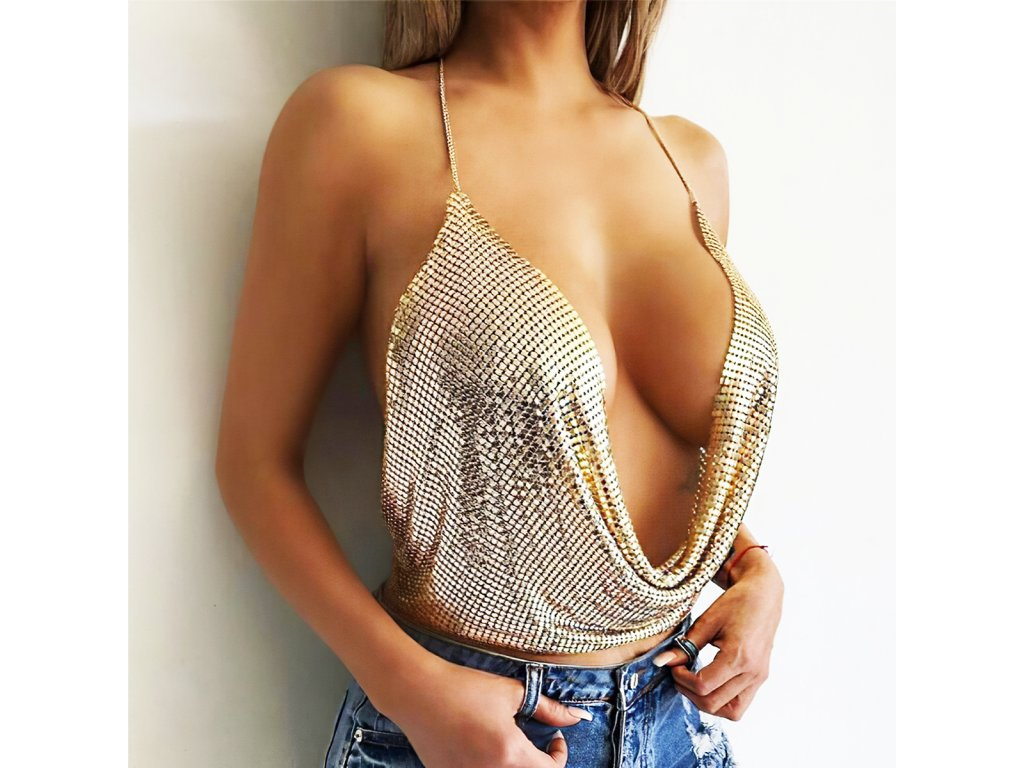 Sexy top lesklý zlatý INNA 2 zpředu 1