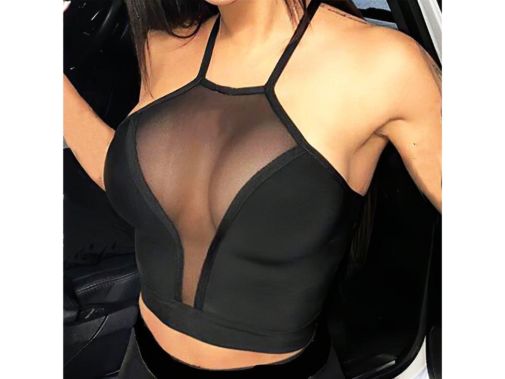 Sexy top černý GINA 2 zpředu detail 2
