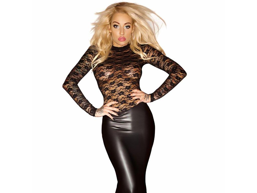 Sexy Šaty lesklé dlouhé černé DONA 2 zpředu 1 detail