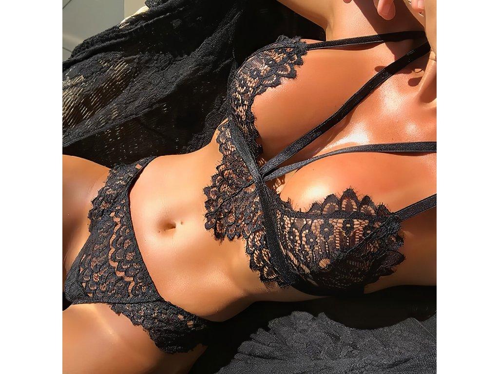 Sexy komplet krajkový černý LUCY 15 zpředu 1