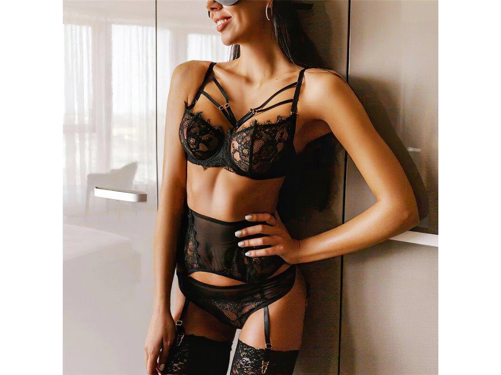 Sexy komplet krajkový černý LUCY 12 zboku 1