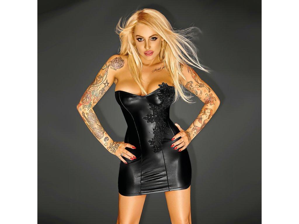Sexy šaty lesklé krátké černé DONA 4 zpředu