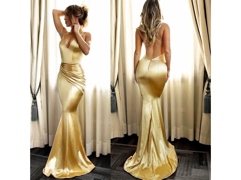 Sexy šaty dlouhé lesklé zlaté MILA 12 zpředu zezadu 2