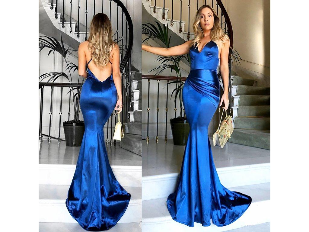 Sexy šaty dlouhé lesklé středně modré MILA 15 zezadu zpředu 1