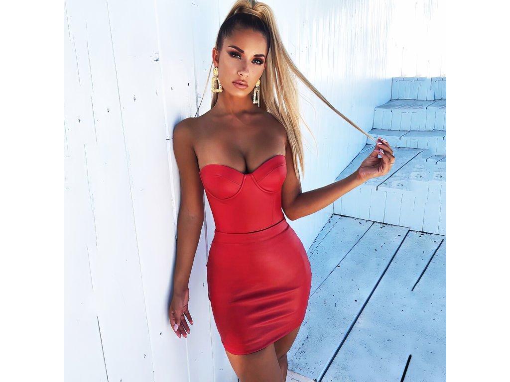 Sexy šaty mini lesklé červené MONA 8 zpředu 1