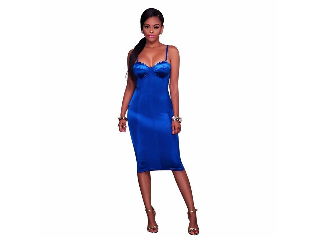 Sexy šaty střední lesklé středně modré MONA 9 zpředu 1