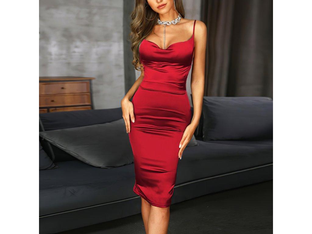 Sexy šaty střední lesklé červené JANA 15 zpředu 1