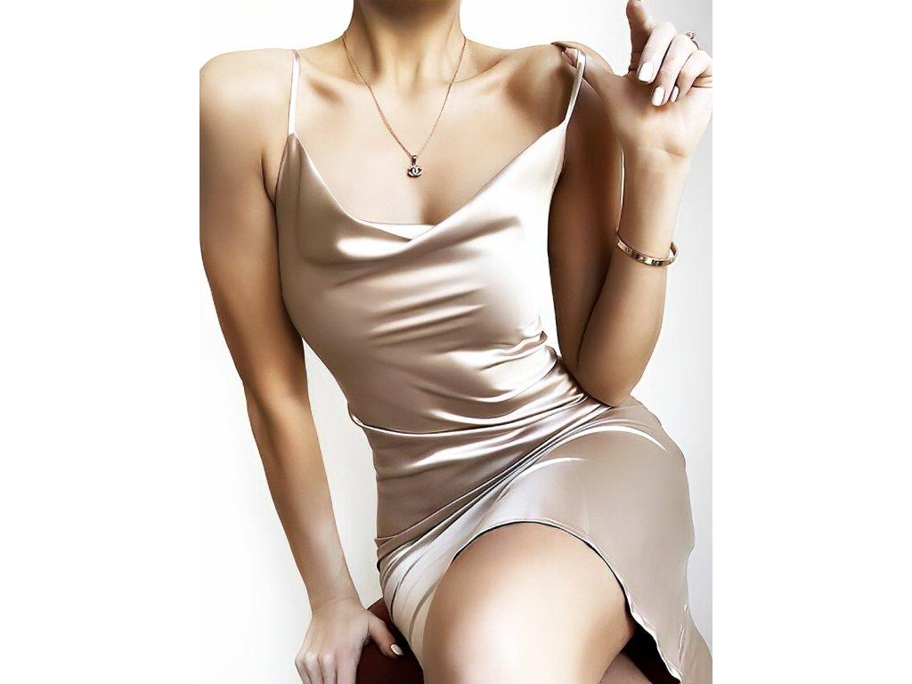 Sexy šaty střední lesklé stříbrné INNA6