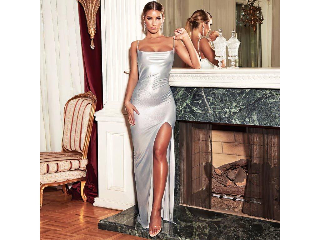 Sexy šaty dlouhé lesklé stříbrné TINA3 zpředu 2