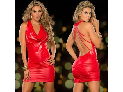 Šaty lésklé červené TOP 1