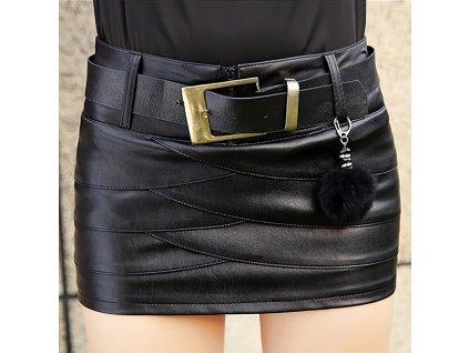 Sexy sukně mini černá KONA 6 zpředu detail 1
