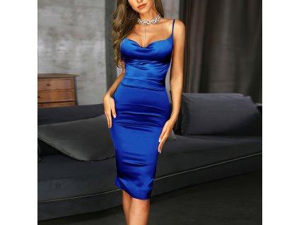 Sexy šaty střední lesklé středně modré JANA 14 zpředu 1