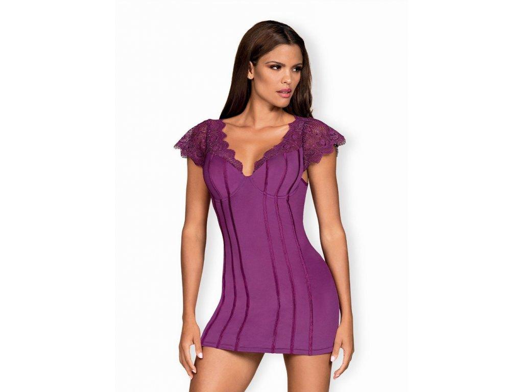 Výjimečná košilka Moketta chemise purple - Obsessive