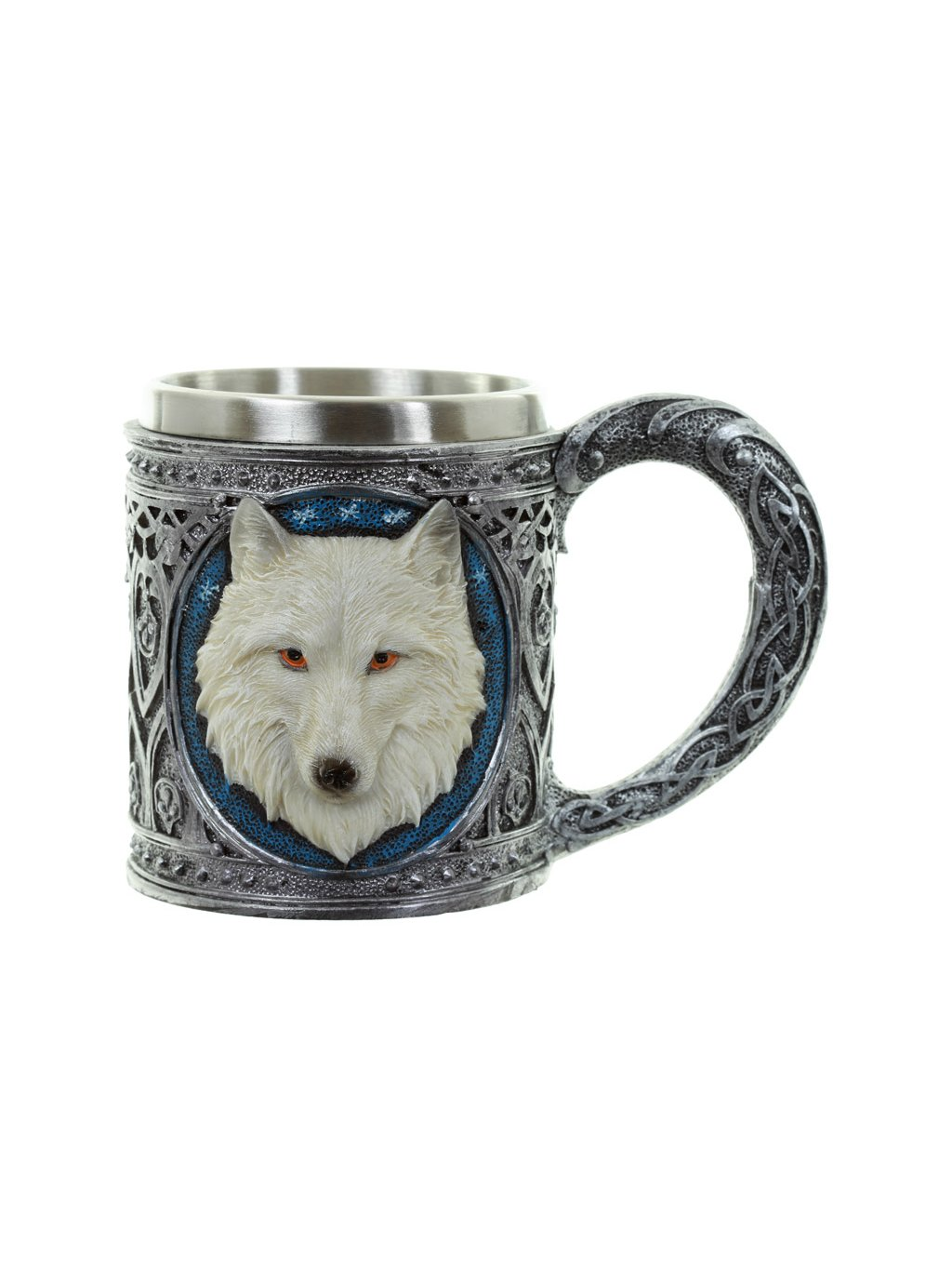 decorative white wolf tankard 2