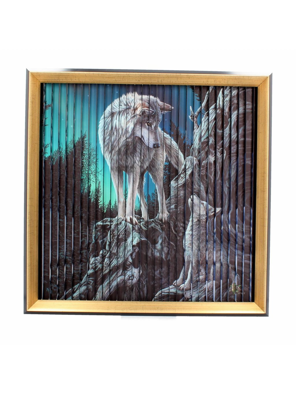 Lisa Parker wolves kinetic picture 43 cm