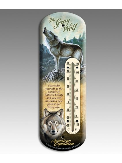 Gray Wolf 3 D Tin Back Porch Thermometer