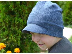 STŘIH ZDARMA - stylová čepice s pevným kšiltem vel.: 50 - 60 cm