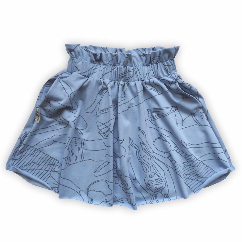 Sukně půlkolová modrá 1