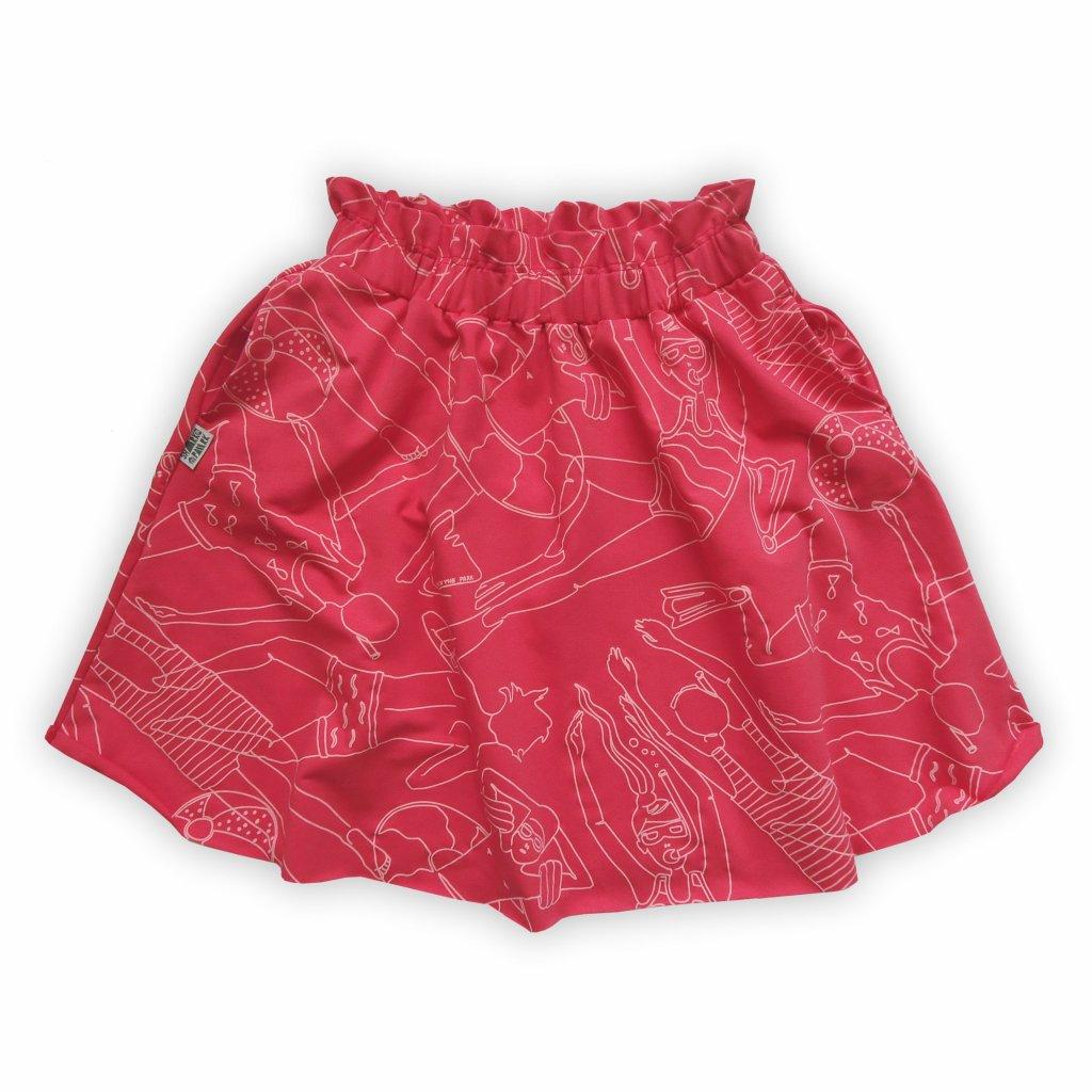 Sukně půlkolová červeno růžová 1