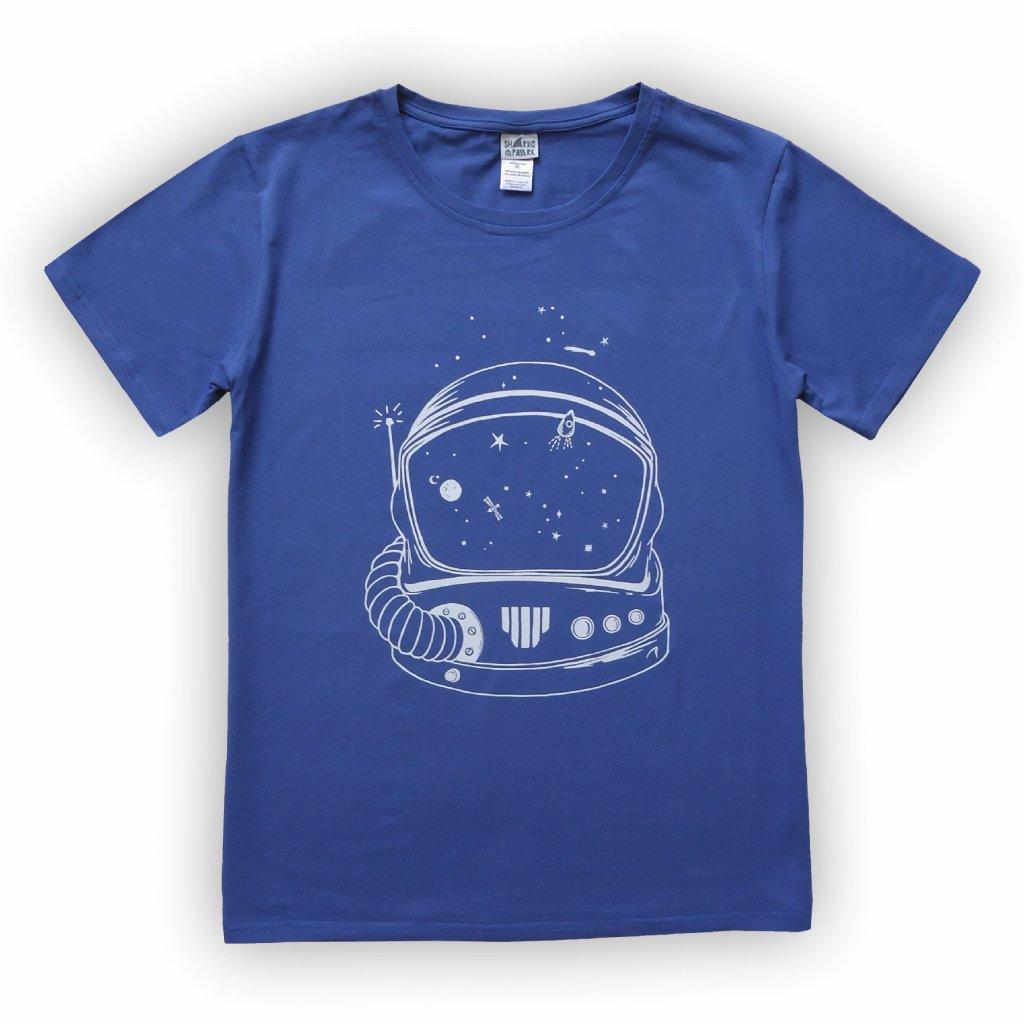 Pánské triko kobaltově modrá helma 1