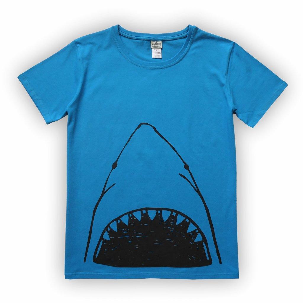 Pánské triko modrá žralok 1