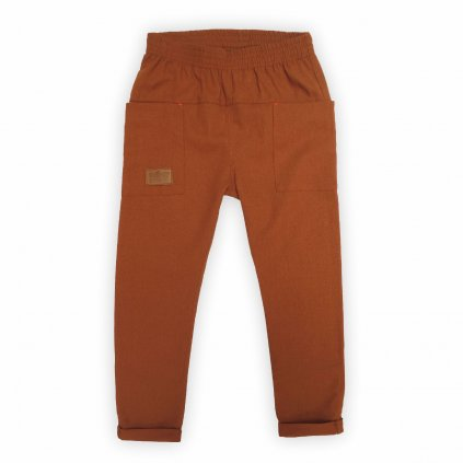 kalhoty len hneda 1