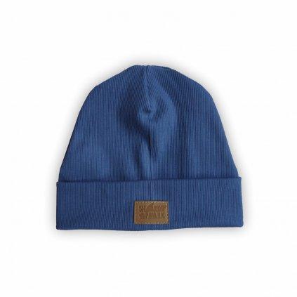Čepice žebro modrá 1