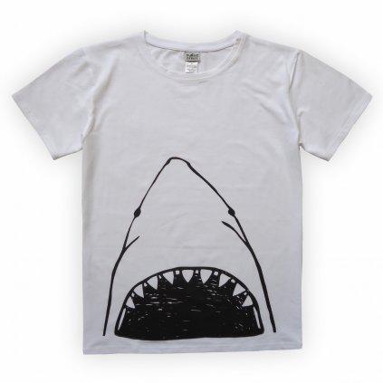 Pánské triko bílá žralok 1
